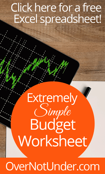Extremely Simple Budget Worksheet | Free Excel spreadsheet | by Jamie Rohrbaugh | OverNotUnder.com